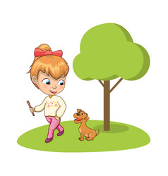 young girl walking park with adorable dog vector image
