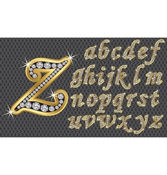 Golden alphabet with diamonds letters from A to Z vector image