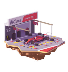 low poly racing car and pit stop vector image