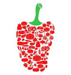pepper on vegetables vector image vector image