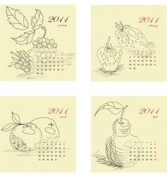 calendar for 2011 with fruit vector image vector image
