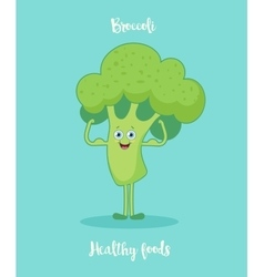 Funny broccoli with biceps vector image vector image