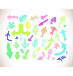 hand drawn arrow icons set vector image