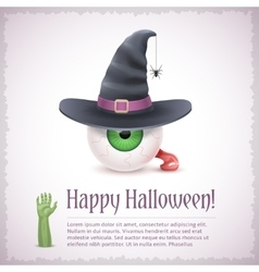 Happy Halloween card with a witch eye in hat vector image vector image