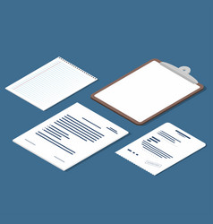 isometric set of receipt contract clipboard blank vector image vector image