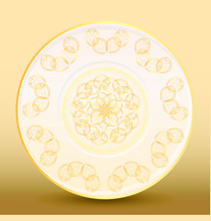 Old-fashioned white plate with a gold vintage vector