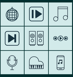 set of 9 audio icons includes skip song vector image vector image