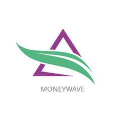 triangle money wave logo vector image vector image