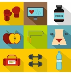 Workout icons set flat style vector
