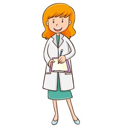 Female doctor writing on paper vector image