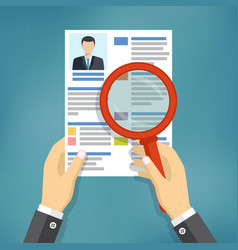 hands holding a resume and a magnifying glass vector image vector image