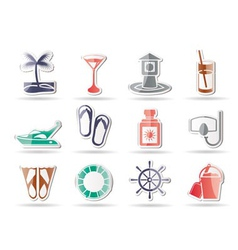 marine and holiday icons vector image vector image