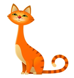 Sitting orange tabby cat vector