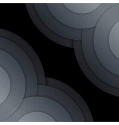 Abstract dark grey paper circles background vector image vector image