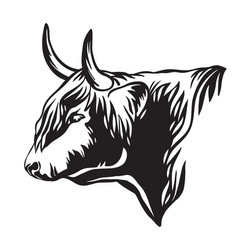 abstract portrait bull in profile vector image