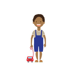 african boy brother with toys full length avatar vector image