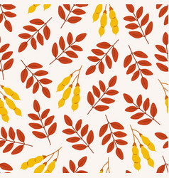 Autumn seamless pattern with acacia leaves vector