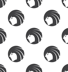 Beauty girl face seamless pattern vector image