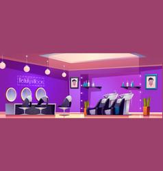 Beauty saloon interior empty hair cut studio room vector