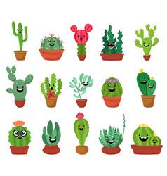 big set cute cartoon cactus and succulents vector image