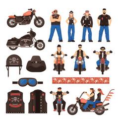 Bikers flat cartoon icons set vector