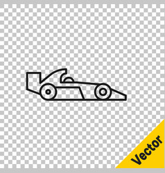 black line formula 1 racing car icon isolated on vector image