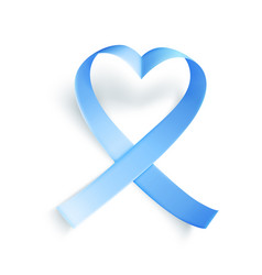 Blue ribbon over white background realistic vector