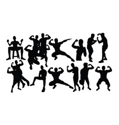 bodybuilding sports activity silhouettes vector image