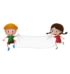 boy and girl holding white banner vector image