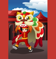 boy doing a lion dance vector image