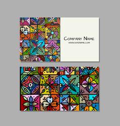 business cards design ethnic vintage ornament vector image