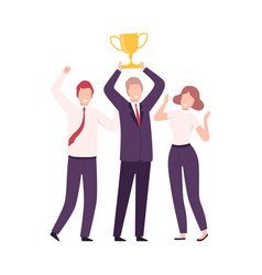 business people celebrating victory with trophy vector image