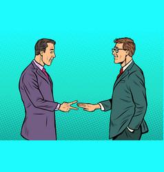 businessmen game rock paper scissors vector image