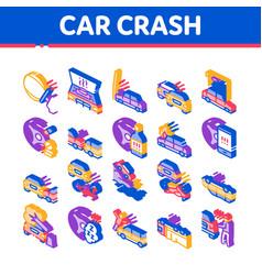 Car crash accident isometric icons set vector