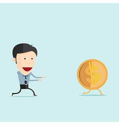 Cartoon run with dollar coin in flat desi vector