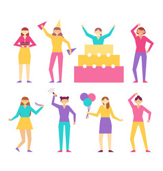 characters from birthday party in cone hats set vector image