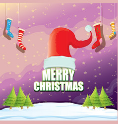 christmas greeting card with red santa hat vector image