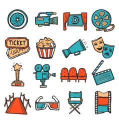 Cinema Icons Set Color vector image