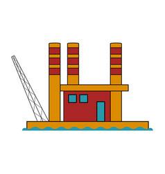 colored oil ocean platform vector image