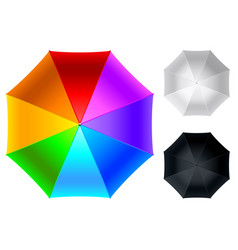 Colorful umbrella top view isolated on white vector
