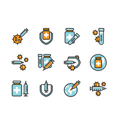 covid19-19 vaccine icon set colorline style sign vector image