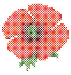 Cross stitch red poppy vector