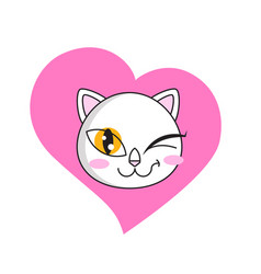 cute cat winks sticker isolated on white vector image