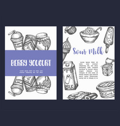 dairy sweet set cards collection hand drawn vector image