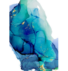 Deep water aquamarine ink blob alcohol ink vector