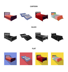 different beds cartoonblackflat icons in set vector image