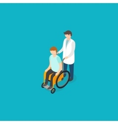 Disabled people help concept Isometric 3d vector