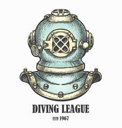 Diving helmet drawn in vintage style vector