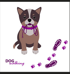 Dog walking logo template sitting dog with leash vector