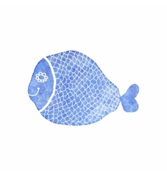 Doodle watercolor fish on the white background vector